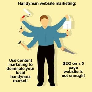Handyman website marketing using content marketing